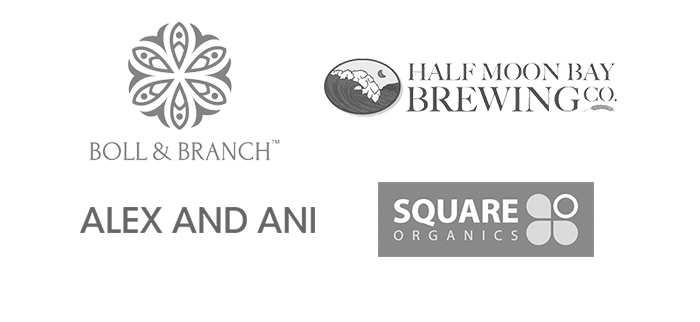 Our Brand Partners with Not For Sale - Boll & Branch, Half Moon Bay Brewing Co, Alex and Ani, Square Organics